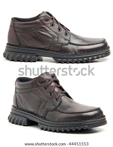 Brown man's boots isolated on a white background - stock photo