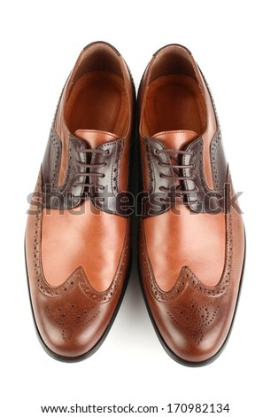 brown man shoes isolated on white background top view - stock photo