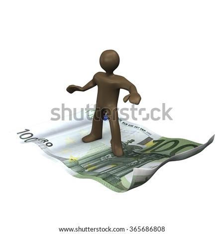 Brown manikin surfing on euro note, 3D rendering - stock photo