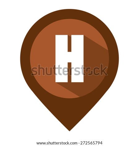 Brown Map Pointer Icon With Hotel Sign Isolated on White Background  - stock photo