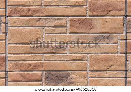 Brown marble brick wall abstract for background. - stock photo