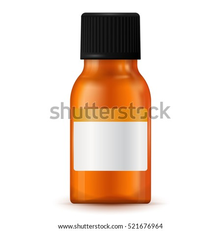 Brown medical bottle with blank label. 3d illustration isolated on white background. Raster version