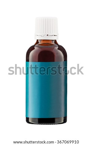 Brown medicine bottle with label isolated on white background - stock photo