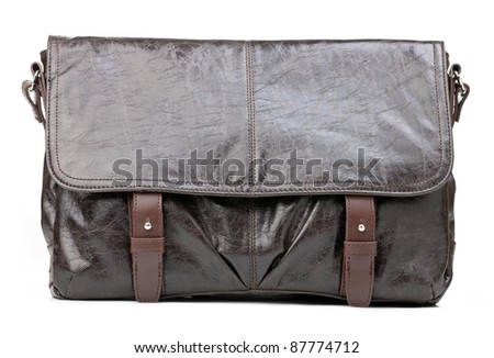 Brown men messenger bag isolated over white