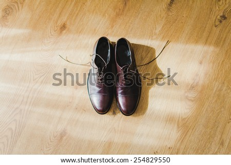Brown men shoes. Fashion. Men's dress shoes - stock photo