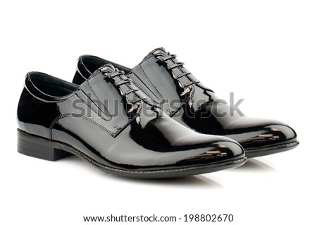 Brown men shoes  isolated on white background. - stock photo