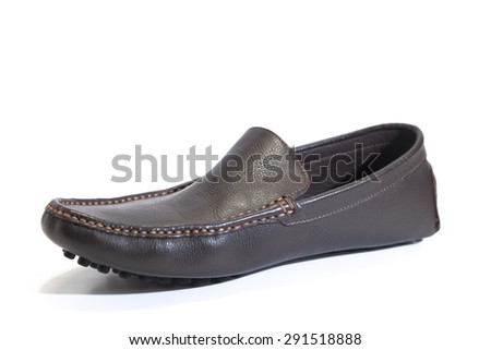 Brown mens suede leather loafer isolated on white background - stock photo