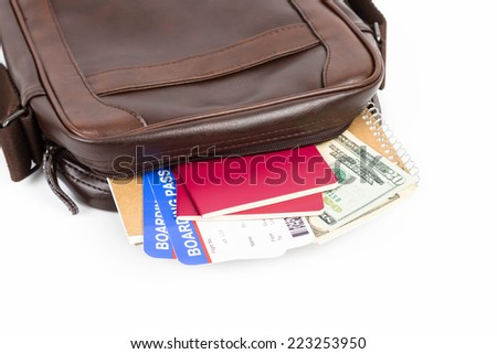 Brown messenger bag with travel document - stock photo