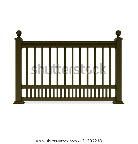 Brown metal design railing with Sphere - stock photo