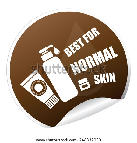 Brown Metallic Best for Normal Skin Cosmetic Container Sticker, Icon or Label Isolated on White Background  - stock photo