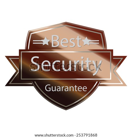 brown metallic best security guarantee shield with ribbon sticker, banner, sign, icon, label isolated on white - stock photo