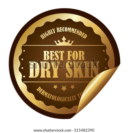 Brown Metallic Circle Best for Dry Skin Highly Recommended Dermatologically Tested Infographics Peeling Sticker, Label, Icon, Sign or Badge Isolated on White Background - stock photo