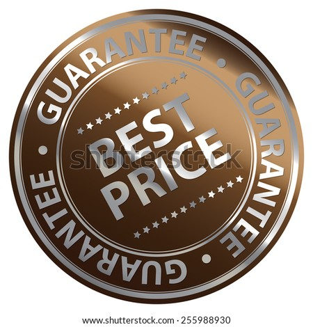 Brown Metallic Circle Best Price Guarantee Icon, Label, Banner, Tag or Sticker Isolated on White Background  - stock photo