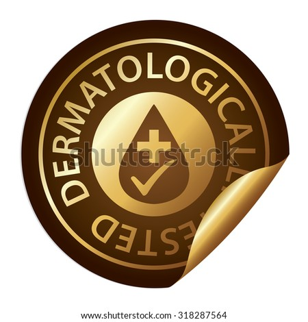 Brown Metallic Dermatologically Tested Infographics Peeling Sticker, Label, Icon, Sign or Badge Isolated on White Background  - stock photo