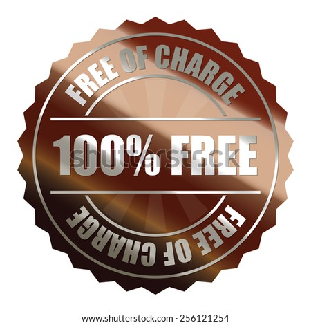 brown metallic 100% free of charge badge, sticker, icon, label, sign, banner isolated on white  - stock photo