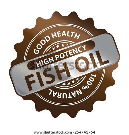 Brown Metallic High Potency Fish Oil Good Health 100% Natural Icon, Label, Badge or Sticker Isolated on White Background  - stock photo