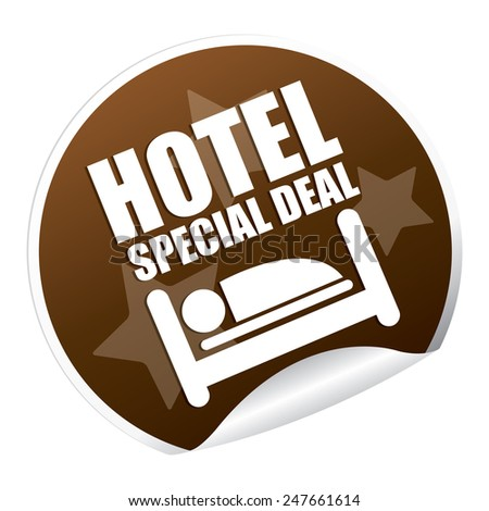 Brown Metallic Hotel Special Deal Sticker, Icon or Label Isolated on White Background  - stock photo