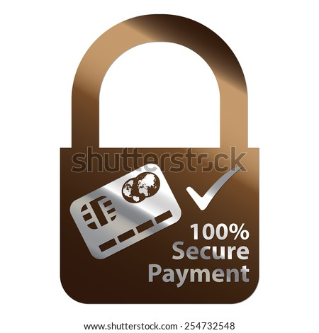 Brown Metallic Key Lock Shape 100% Secure Payment Icon, Label, Sign or Sticker Isolated on White Background  - stock photo
