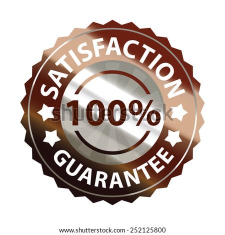 brown metallic satisfaction guarantee 100% sticker, sign, badge, icon, label isolated on white - stock photo