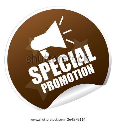 Brown  Metallic Special Promotion Sticker, Icon or Label Isolated on White Background  - stock photo
