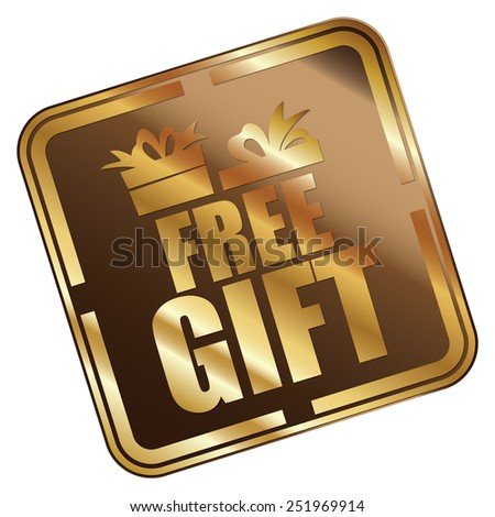 Brown Metallic Square Free Gift Icon, Sticker, Banner, Tag, Sign or Label Isolated on White Background - stock photo