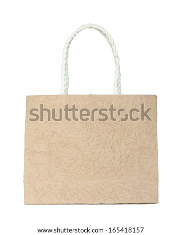 Brown mulberry paper bag isolated on white with clipping path
