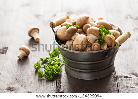 brown mushrooms and parsley - stock photo