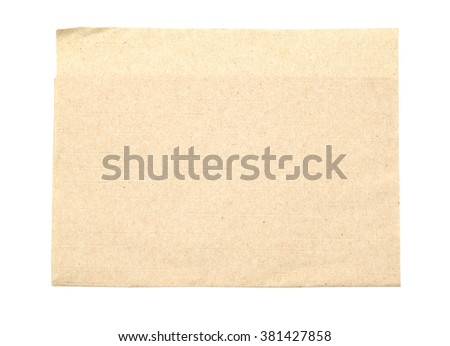 brown napkin isolate on white (clipping path) - stock photo