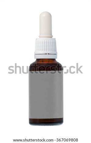Brown nasal spray bottle with label isolated on white background - stock photo