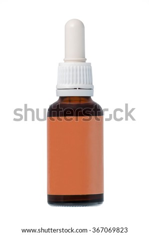 Brown nasal spray bottle with label isolated on white background
