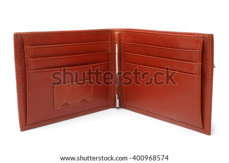 Brown natural leather wallet on white background  - stock photo