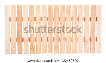 Brown natural wooden fence isolated on white background - stock photo