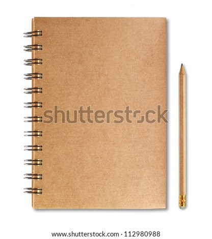 Brown notebook and pencil isolated on white background - stock photo