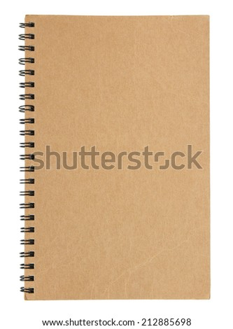 brown notebook cover isolated on white background with clipping path - stock photo