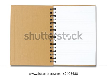 Brown Notebook open on white background