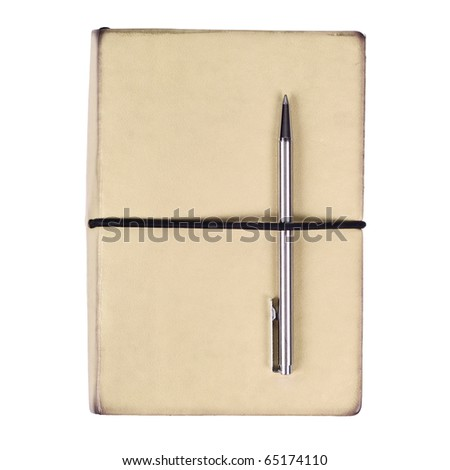 Brown notebook with pen isolated on white - stock photo