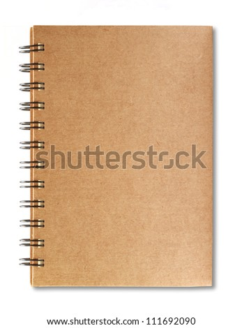 Brown notebook with shadow on right side isolated on white background - stock photo