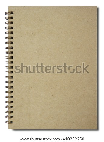 Brown notebook with shadow on right side isolated on white background