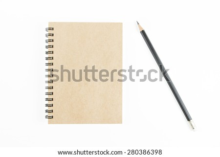 Brown notepad  and pencil on isolated white