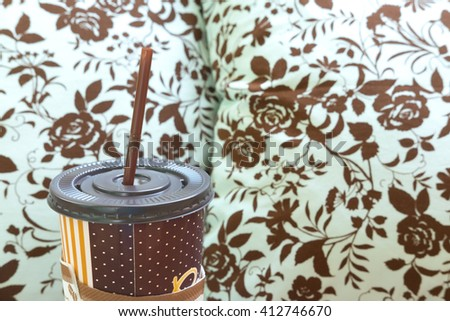 brown of Ice coffee cup - stock photo