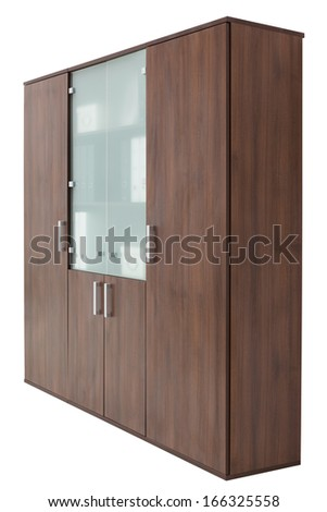 brown office cupboard on a white background - stock photo