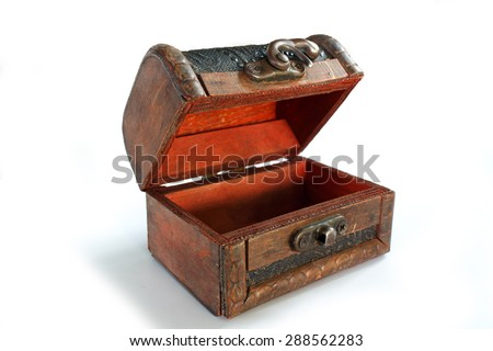 brown old casket open box isolated