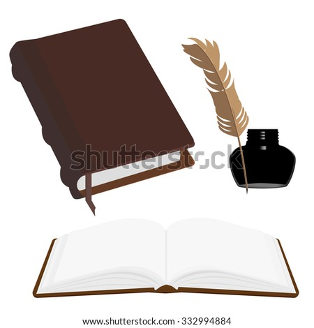 Brown old leather book with bookmark and black inkwell with feather raster set. Opened and closed book - stock photo