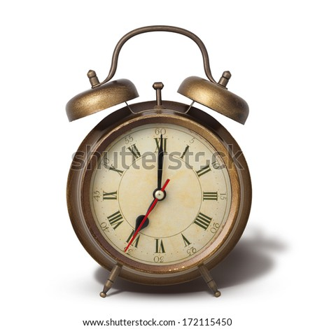 Brown old style alarm clock with shadow isolated on white - stock photo