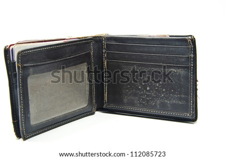 Brown old wallet isolated on white background