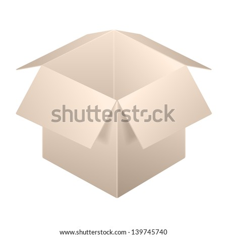 Brown Open Box Icon, Template. Isolated On White Background. Raster Version - stock photo