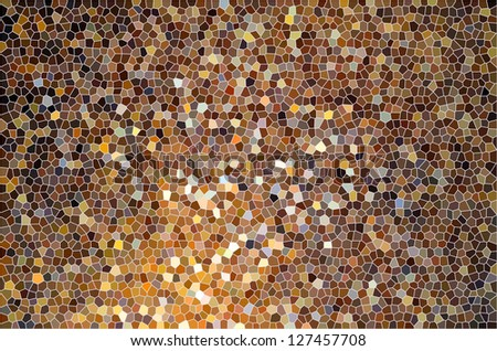 Brown orange yellow color gradient stained glass or tile surface pattern - stock photo