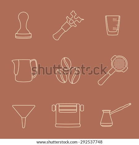 brown outline coffee barista equipment icons set tools espresso tamper, coffee wrench, measuring glass, pitcher, coffee beans, filter holder, funnel, knockbox, turk coffee pot  - stock photo