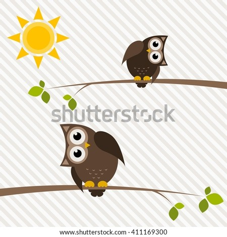 brown owl and owlet on the tree. Raster version - stock photo