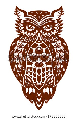 Brown owl in ornamental style for mascot or another design. Vector version also available in gallery - stock photo